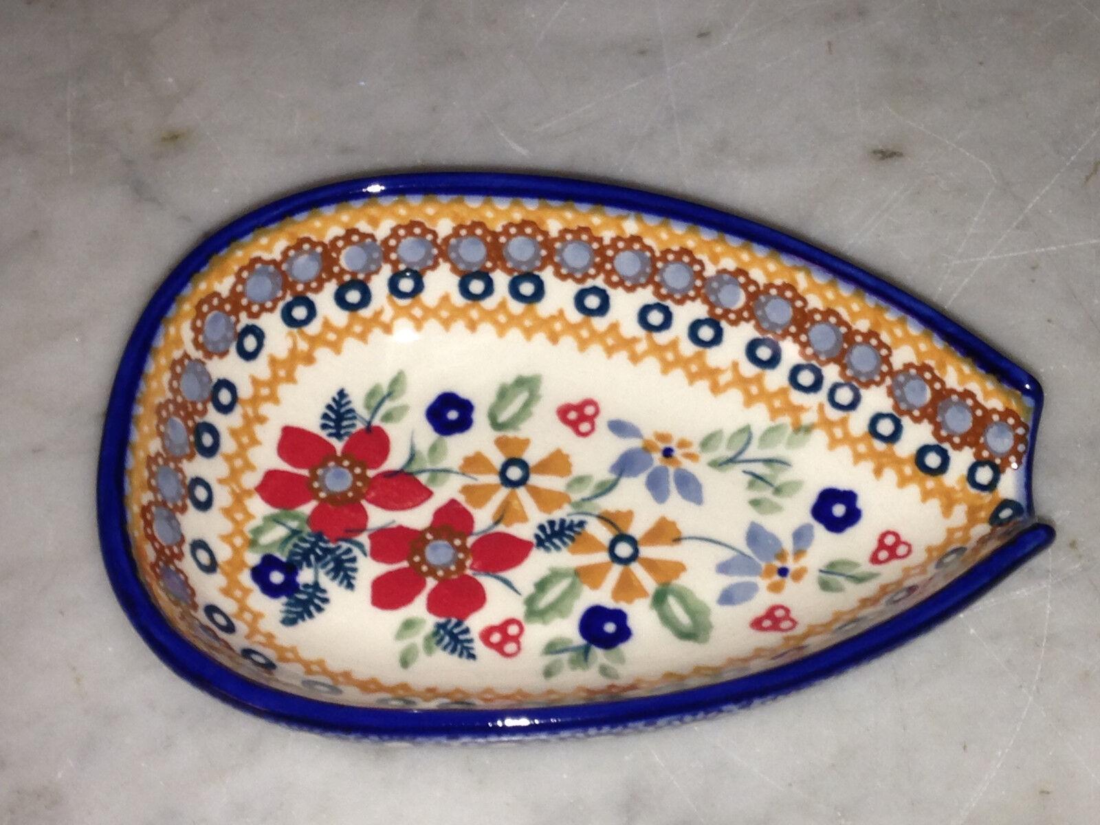 Genuine UNIKAT Polish Pottery Kitchen Spoon Rest! Rembrandt Pattern!