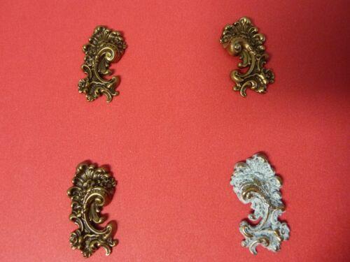 Brass stampings ornate embellishment, photo corners, earring dangles set of 4