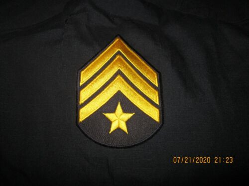 2 Pair Sargent Gold Stripes with Star Sew or Iron On New