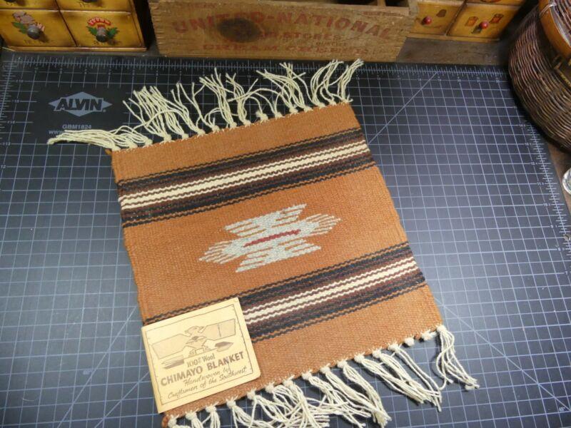 Vintage Handwoven Wool Native American Chimyo Blanket Souvenir 10x10