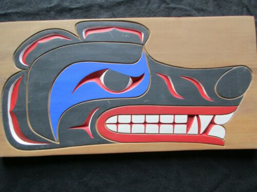 "NORTHWEST COAST CEDAR CARVED PLAQUE, ARTIST SIGNED, ""WOLF MASK""   WY-1120*05058"