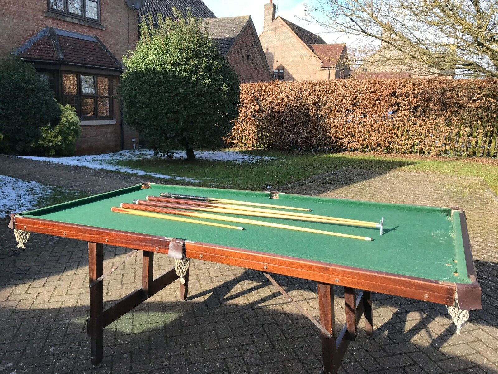 Old heavily used 7ft Jacques Snooker Table with Balls and Cues