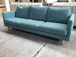 Teal Fabric 3 Seat Sofa - Factory Second Epping Whittlesea Area Preview