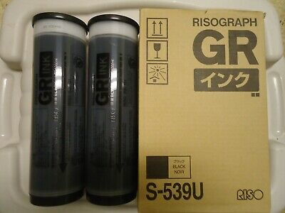 2 Risograph S-539u Black Ink Cartridge Opened Box Gr