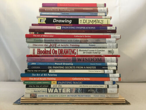 Art Books Watercolor Pencil Drawing Pastels Oil Acrylic Painting Large Lot of 28