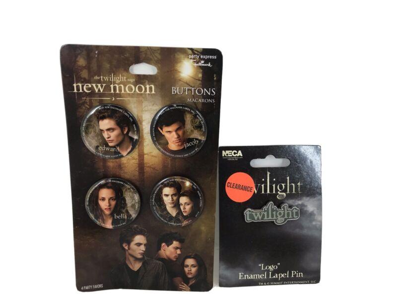 The Twilight Saga New Moon 4 Button Pin Set Plus TWILIGHT logo lapel pin New