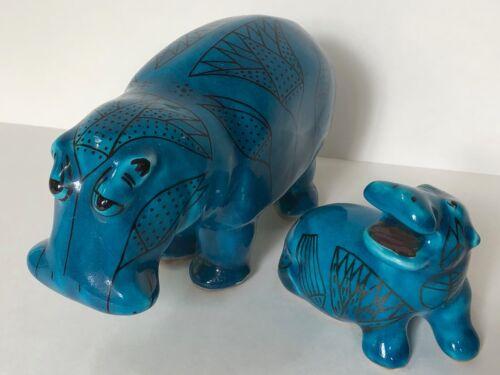 VTG METROPOLITAN MUSEUM Of ART MMA PAIR WILLIAM Rimini Blue Ceramic HIPPO Figure