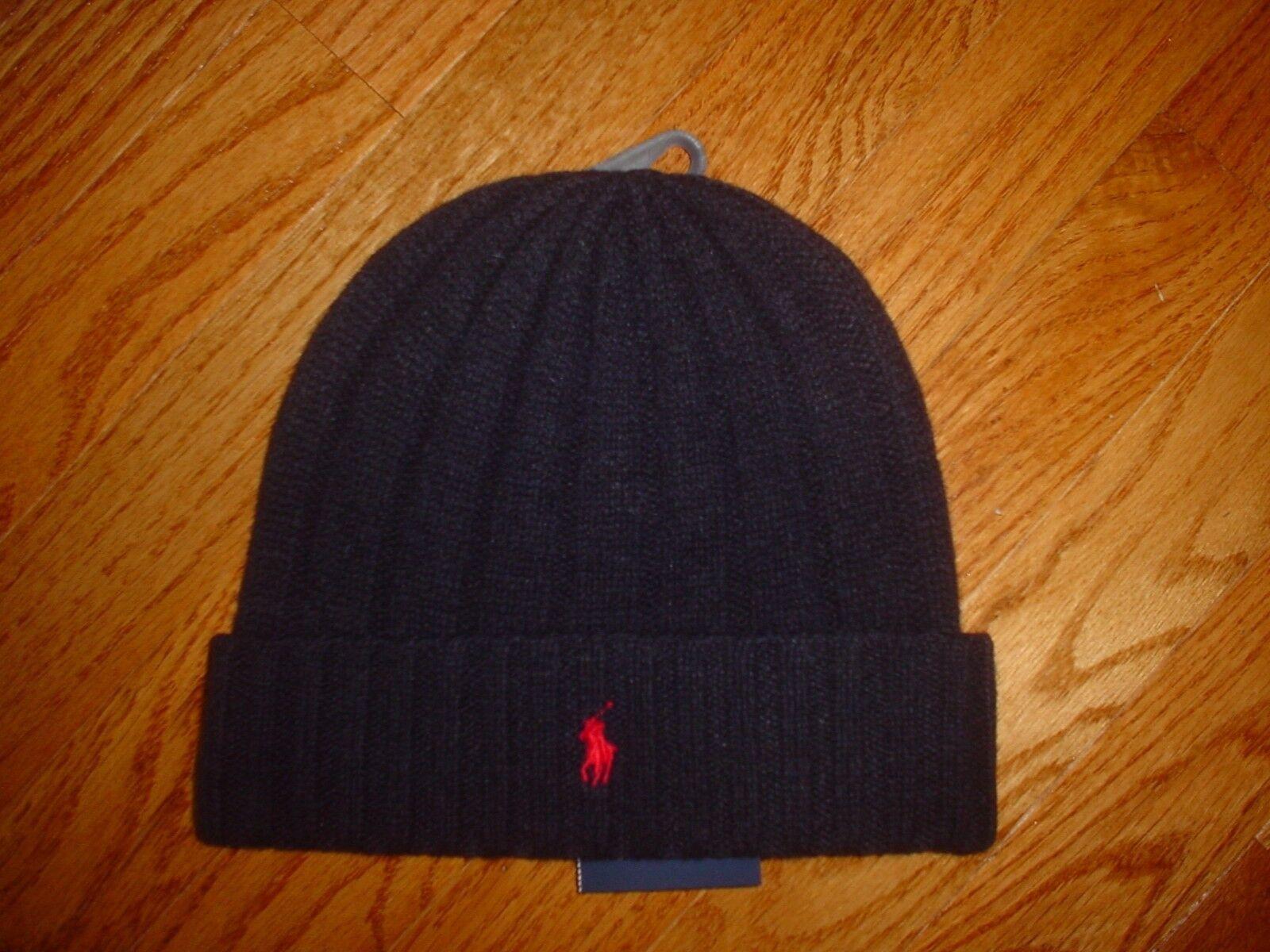 Polo Ralph Lauren Mens Skull Beanie Winter Cap Ski Hat Wool Blend New NWT