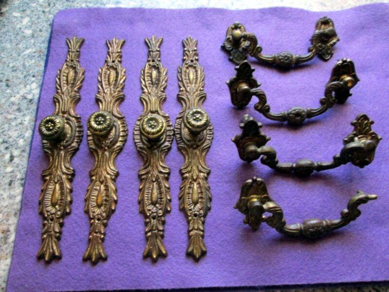 8 Pieces Antique Brass Ormalu Drawer Pulls Ornamentation