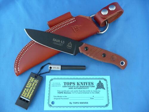 TOPS Baja 4.5 Reserve Edition Knife Tan Canvas Micarta 1095 Carbon Steel USA