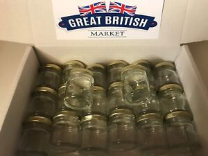 20 x Small Empty 45ml Mini Glass Jars with Gold Lids - Wedding Favours / Jam