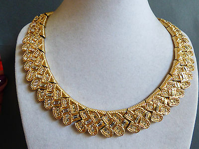 1970s Nina Ricci Haute Couture Runway Gold Plate Baguette Round Crystal Necklace
