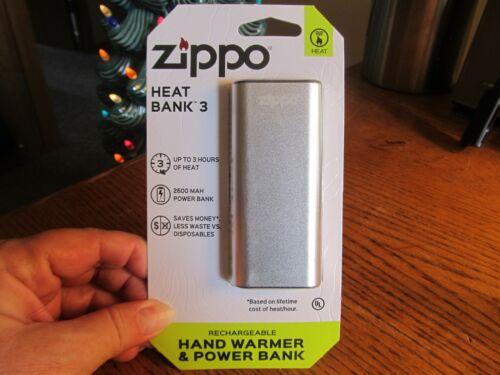 Zippo HeatBank 3 Camping & Hunting Emergency Silver Hand Warmer Part# 40509