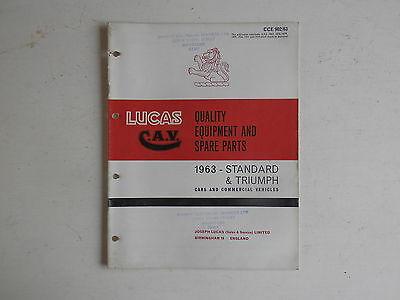 LUCAS Parts List 1963 TRIUMPH cars, STANDARD cars and  light commercials