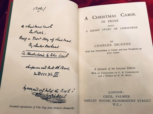 Dickens A CHRISTMAS CAROL  Top Quality Facsimile of 1843 1st Edition