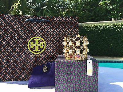 TORY BURCH PEARL WIDE CUFF IVORY/SHINY BRASS NWT $225 & TB Dustcover -Box - Bag!