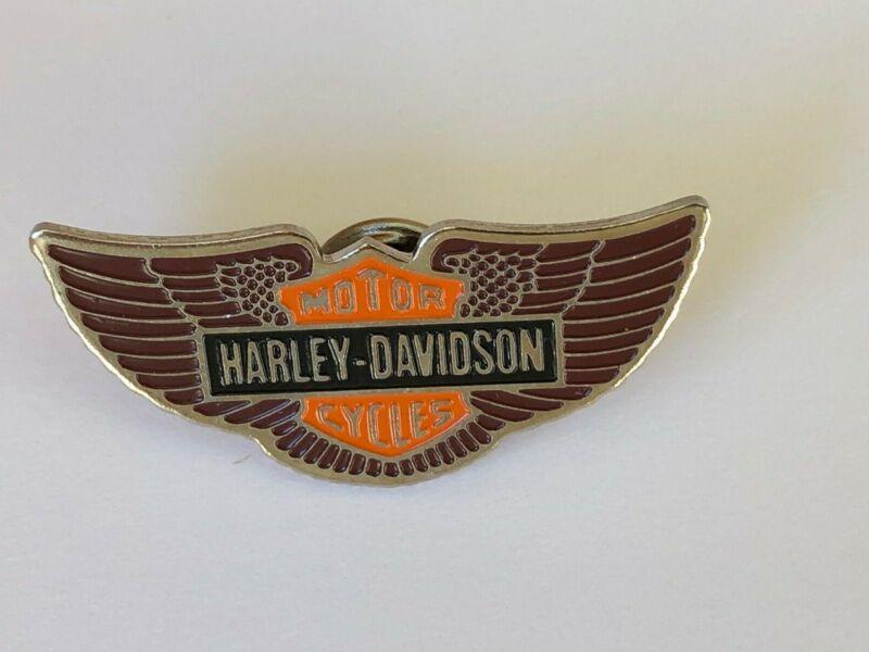 Vintage Harley Davidson Pin Back Winged Shield Enamel Solid Brass NOS OLP Brass