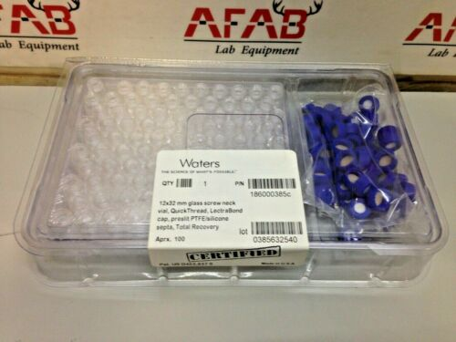 Waters 186000385c 12x32 mm Glass Screw Neck Vial with Caps Set of 100