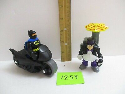 Fisher Price Imaginext Lot Batman & Motorcycle w/The Penguin & Rotating Umbrella