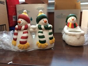 Party lite. Two Snowman candle holders partylite