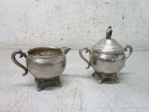 Pilgram Silver Plated Sugar Bowl with Lid and Creamer Set