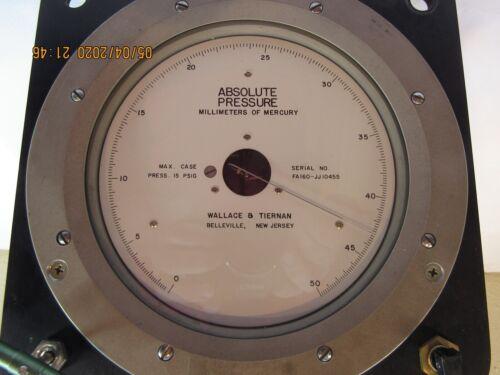 Wallace & Tiernan Absolute Pressure Gauge MM / Mercury # FA160-JJ10455 w/Mount