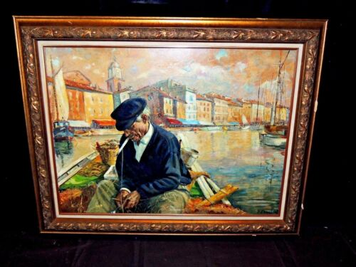 Rare Antique Oil On Canvas Seascape Painting Of A Fisherman - Signed & Framed