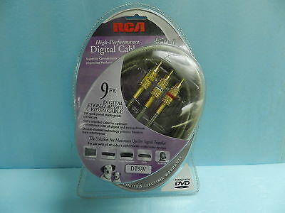 NEW RCA DIGITAL STEREO AUDIO VIDEO CABLES 9FT. DT9AV, 24K GOLD PLATE CONECTORS - $24.99