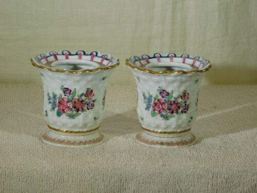 Pair Antique French Porcelaine De Paris Hand Painted C.Reuser Cache Pots