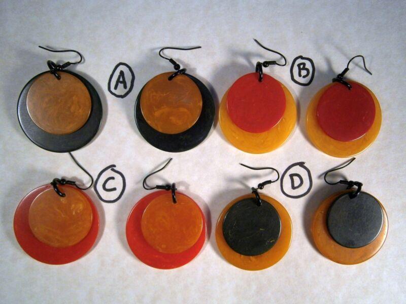 Vintage, Genuine BAKELITE Poker & Mini-Poker Chips Pierced Earrings U-Pick Color