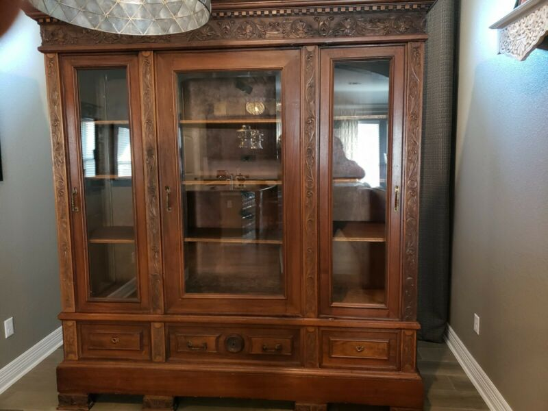 Large Antique Italian Renaissance Carved 3 Door Bookcase Cabinet