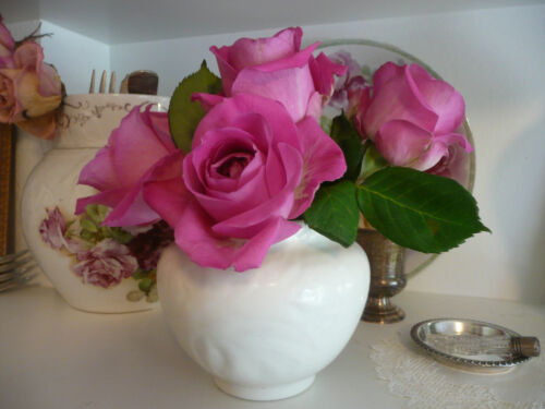 WoW~Vintage Gladding McBean/GMB~White Rose VASE~Embossed California Art Pottery!
