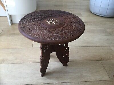 Vintage Anglo Indian  Inlaid Hand Carved Side Table doesn't fold