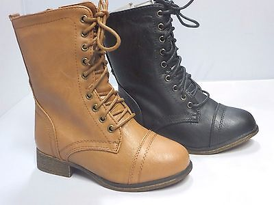 Girl Lace-up Boots (beyon62k) Kid Size Combat Boots Military Black Tan (Girls Combat Boots)