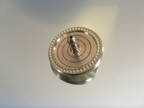 Brass spinning top with ceramic bearing, index, swirl design over 7 min spin