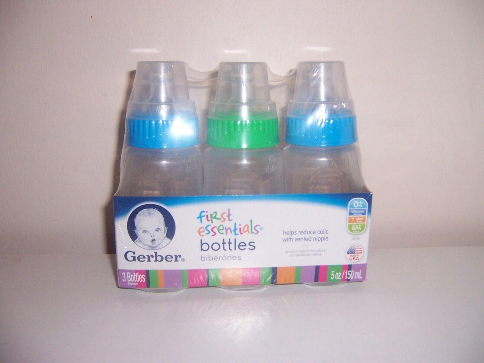 Gerber first essentials baby bottles blue green 5 oz size