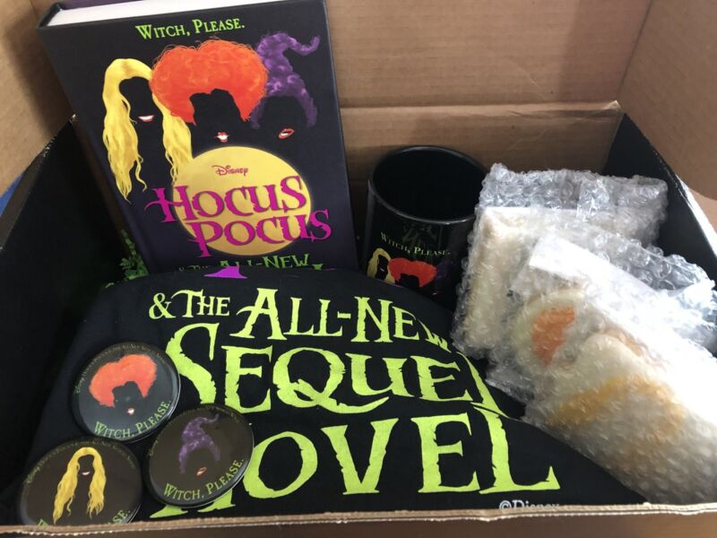 Hocus Pocus Swag Box - T-Shirt, Sequel Book, Mug, Cookies, SDCC Pins
