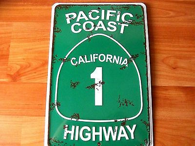 California Pacific Coast Highway 1 Embossed Aluminum Metal Sign