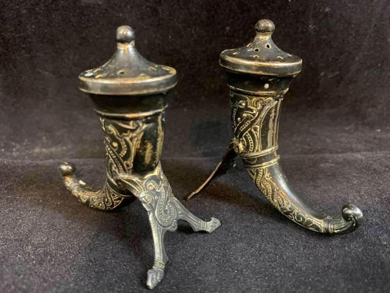Vintage Theodor Olsen Norway Sterling Silver Viking Salt & Pepper Shaker