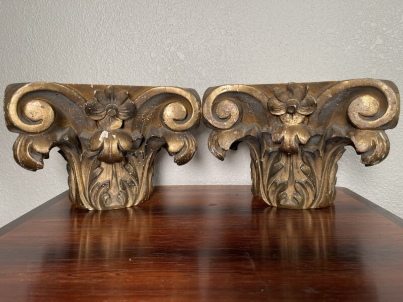 2 Antique Corinthian Carved Gilt Wood Capital Architectural 18th Century Bookend