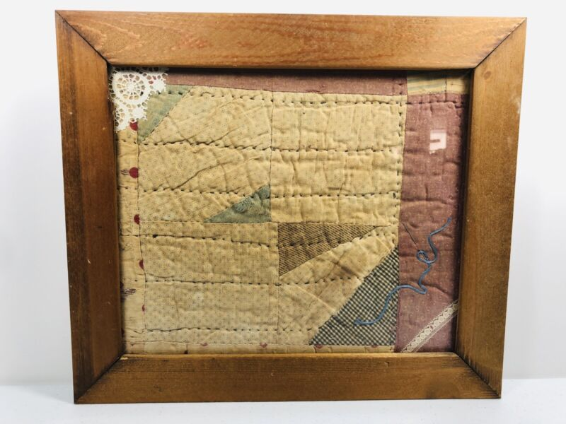 Antique Framed Quilt Old Threads Collage 1800s Lace Prairie Pioneer Gingham RARE