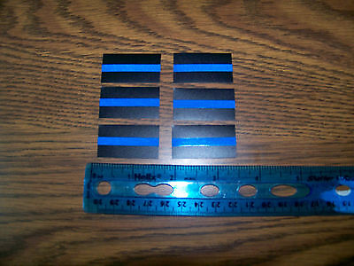"Thin Blue Line -Mini size reflective decals-1.5"" x  3/4""   6 Pack - ships free !"