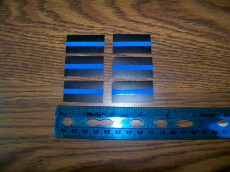 """Thin Blue Line -Mini size reflective decals-1.5"""" x  3/4""""   6 Pack - ships free !"""