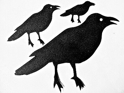 6 Crow Die Cuts Black Silhouette  Halloween embellishments - Halloween Crow Silhouette