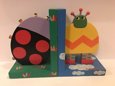 Tatutina Robot/Bug Theme Wooden Bookends for Kids' Books/Room Kids Wooden Bookends