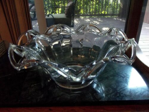 """11"""" Fruit Console Serving Bowl Glass Crystal Imperial crochet lace open rim"""