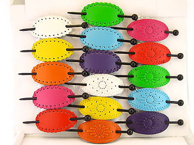 LEATHER SLIDE STICK HAIR PIN BARRETTES  COLORS - (HB1003A, HB1002A)