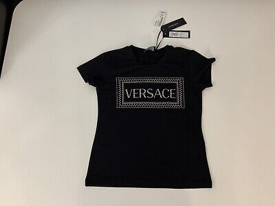 Versace NEW black T Shirt Top Size Age 10 Years Swarovski Crystals Rrp £163 Bnwt