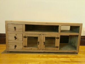 Wood console sideboard credenza server glass doors drawers