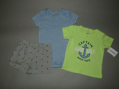 NWT, Baby boy clothes, Newborn, Carter's 3 piece short set/ SEE DETAILS ON SIZE~